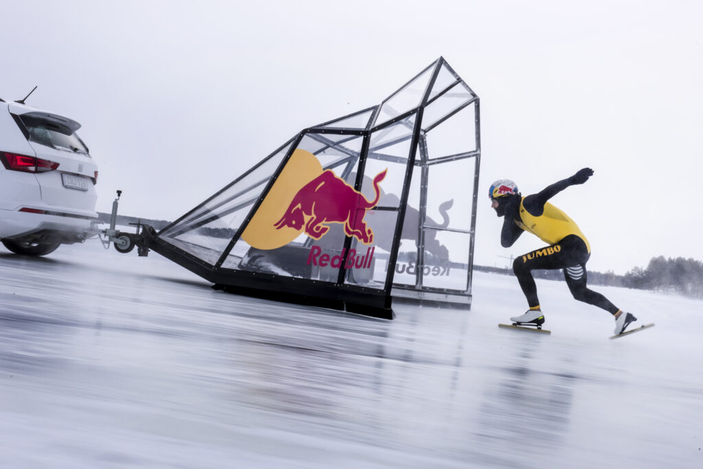 Kjeld Nuis in action during a practice run for his Quest for Speed in Lulea, Sweden on March 27 2018. // Jarno Schurgers/Red Bull Content Pool // SI201803280236 // Usage for editorial use only //